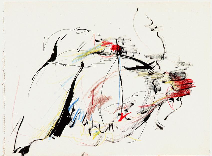 Peter Brüning, Ohne Titel, 1961, Tusche, farbige Kreide auf Papier, 36 x 48,4 cm