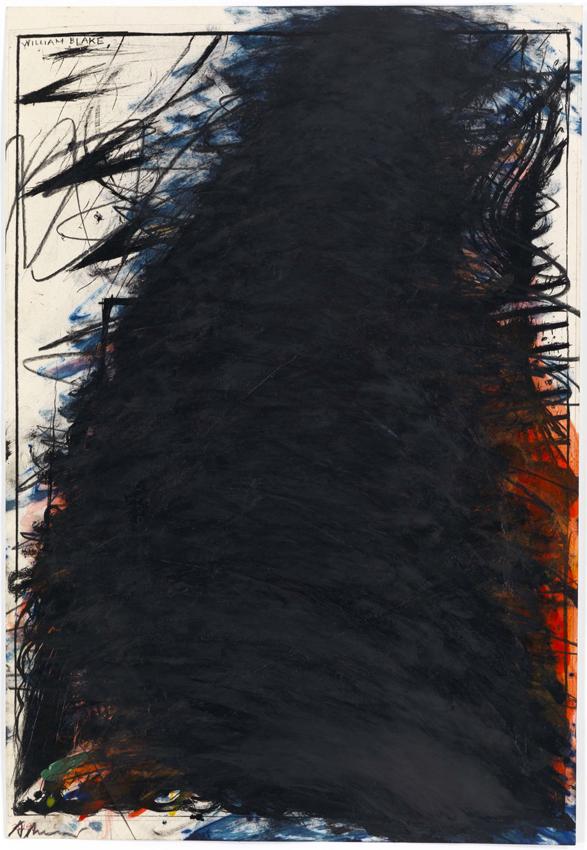 Arnulf Rainer, William Blake, 1968, Tusche, Öl und Ölkreide auf Lithografie, 53,1 x 36,5 cm