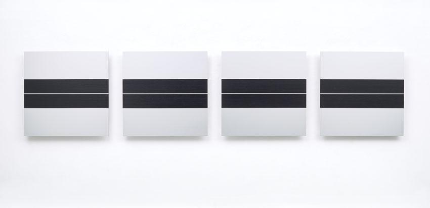 Frank Gerritz, Live Wire (A Day in Memories), 2017, Paintstick auf eloxiertem Aluminium, 60 x 60 cm