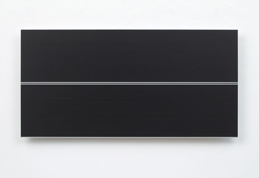 Frank Gerritz, High Tension Wire, 2016, Paintstick auf eloxiertem Aluminium, 60 x 120 cm