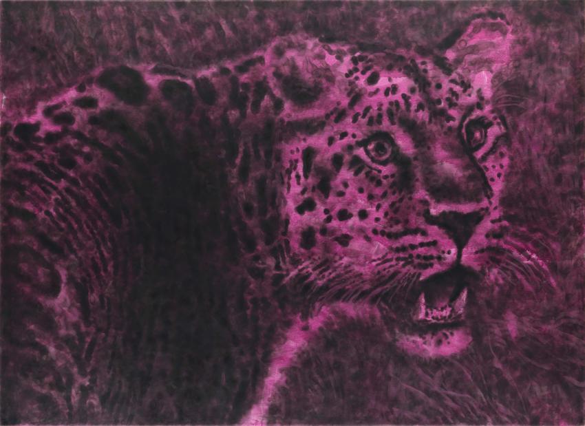 Jiří Georg Dokoupil, The first Cochin ,A' Leopard, 2014, Ruß auf Leinwand, 145 x 200 cm