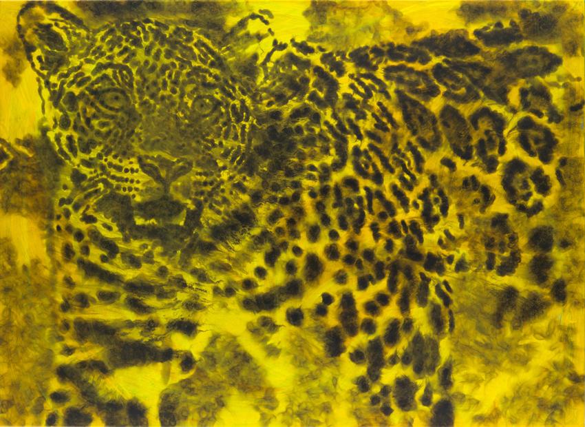 Jiří Georg Dokoupil, Gelber Leopard, 2018, Ruß auf Leinwand, 145 x 200 cm