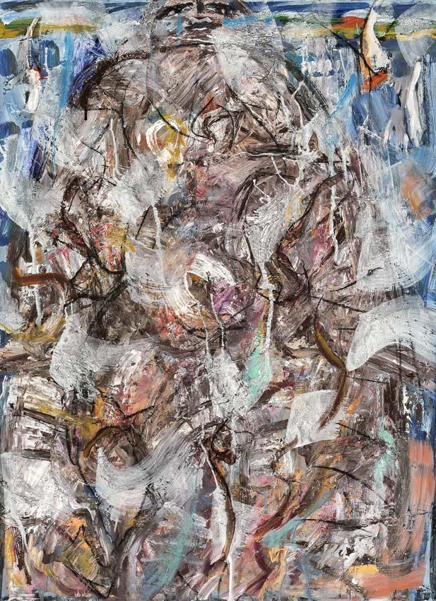 Katharina von Werz, Ruderin am See, 2010, Acryl auf Pappe, 130 x 95 cm