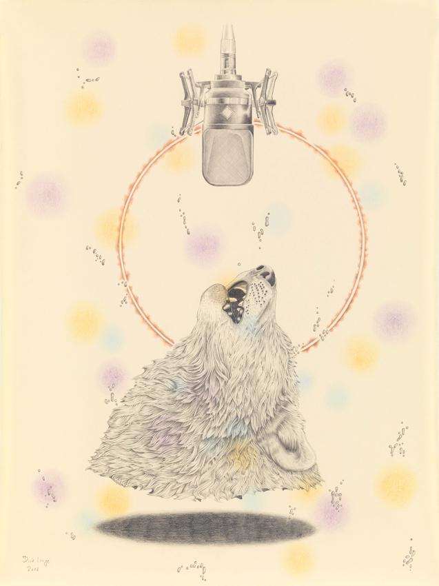 Dirk Lange, His Master's Voice, 2018, Farbstift, Bleistift und Tusche auf Papier, 64 x 48 cm