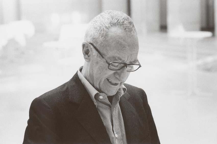 Angelika Platen, Lächelnder Meister... (Gerhard Richter), 2002, Handabzug Silbergelatine auf Barytpapier, Rahmen: Passepartout 42 x 52 cm