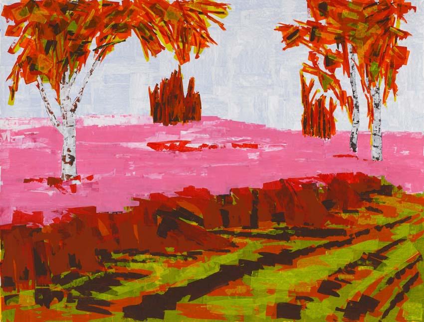 Anne Loch, o.T. (Heide farbig), 2003, Acryl auf Leinwand, 155 x 205 cm