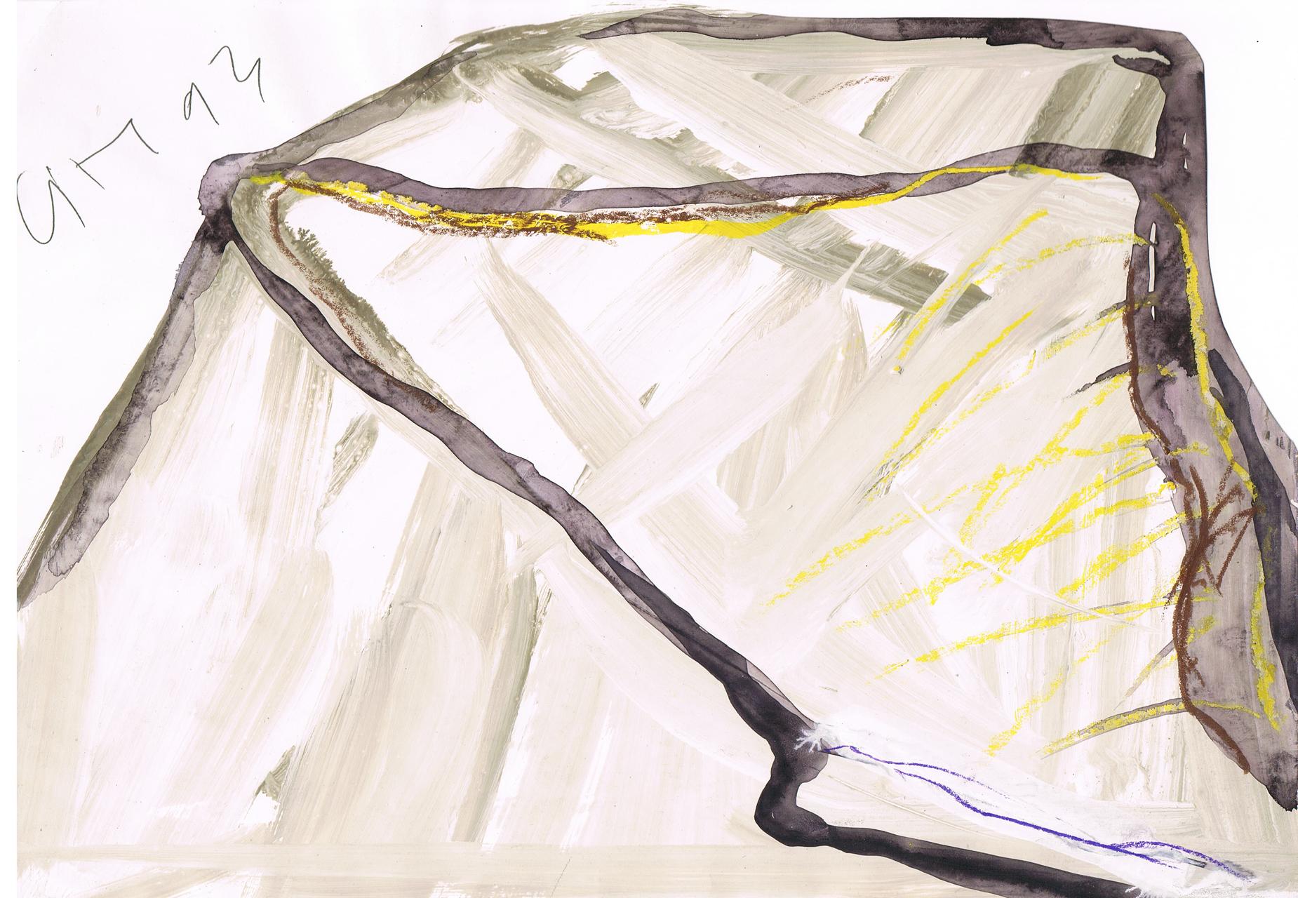 Emil Cimiotti, Ohne Titel, 1993, Collage, Gouache, Tusche auf Papier, 21 x 29,8 cm