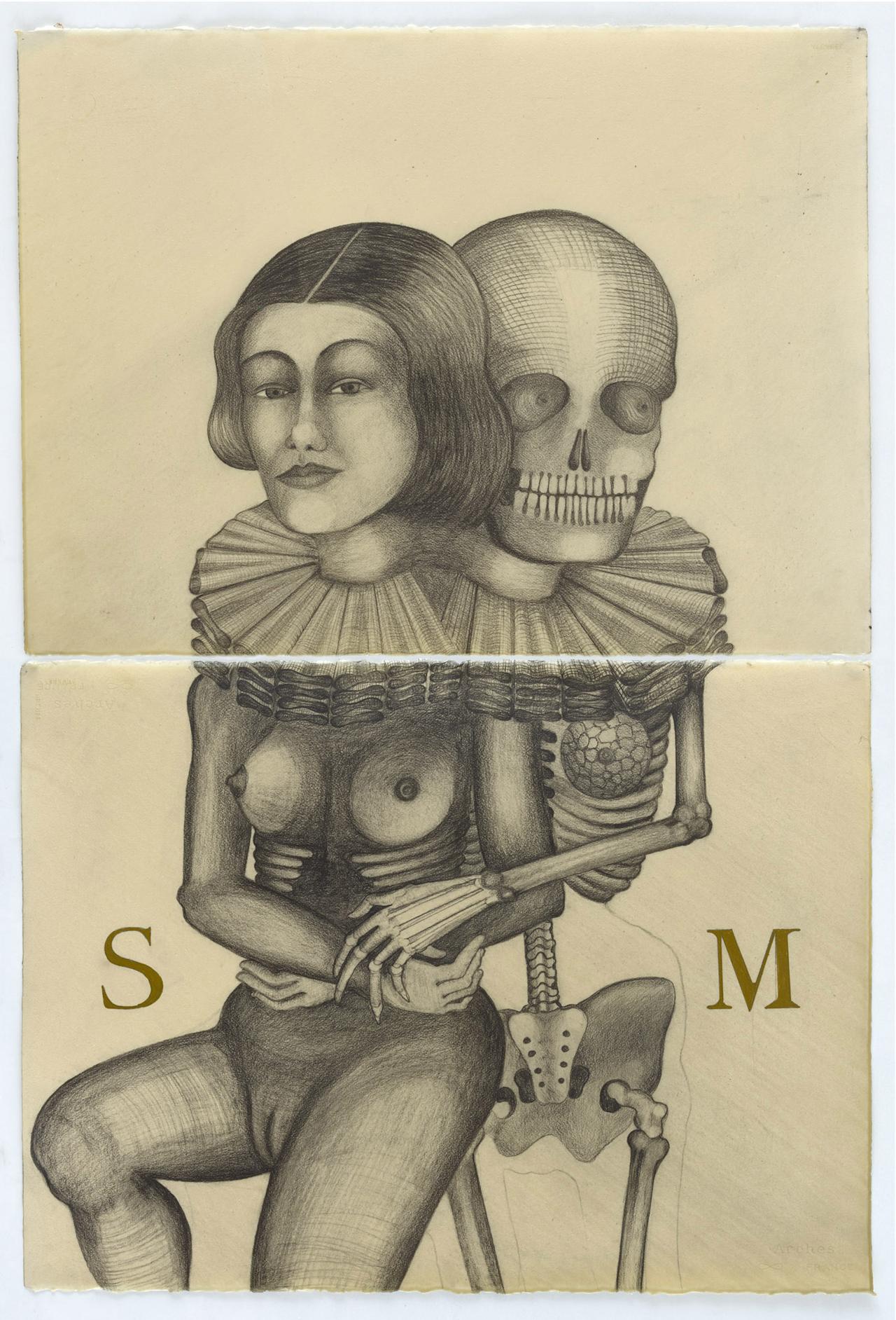 Sandra Vásquez de la Horra, Santa Muerte Hidalga, 2016, Bleistift und Pigment auf Aquarellkarton in Wachs, zweiteilig mit Rahmen: 121,2 x 84,2 x 5,0 cm