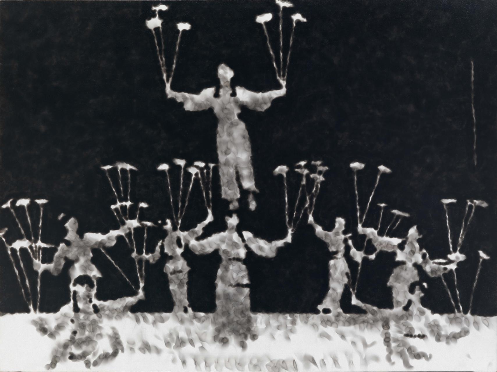 Jiří Georg Dokoupil, Jongleure, ca. 1991, Ruß auf grundierter Leinwand, 97 x 130 cm