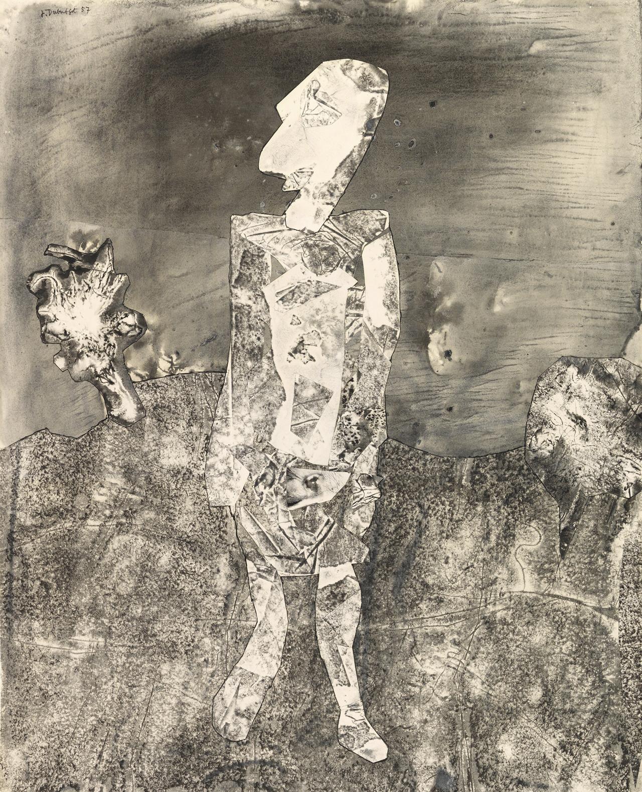 Jean Dubuffet, Promeneur au regard pâle, 1957, Assemblage mit Monotypie und Gouache auf Papier, 81 x 65,5 cm