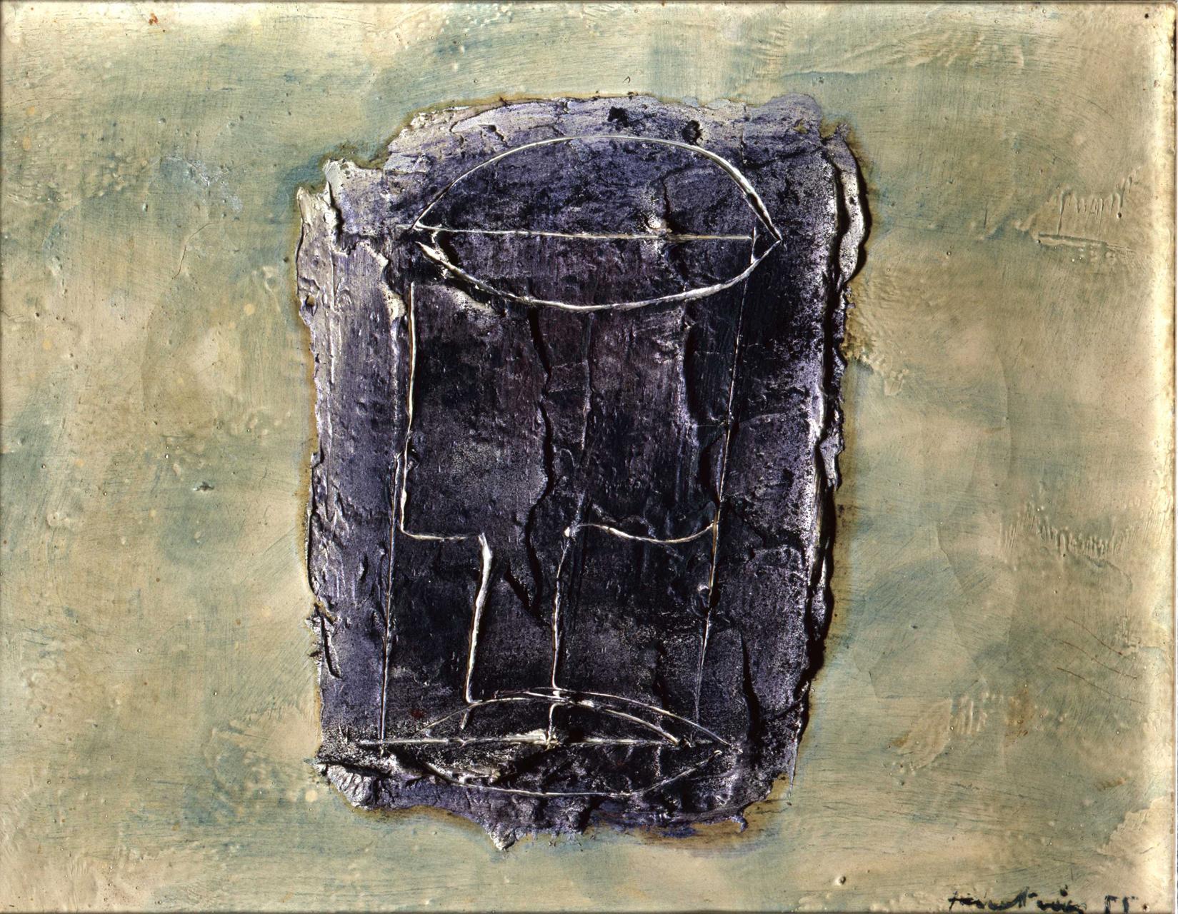 Jean Fautrier, Le Verre Vide, 1955, Öl auf Papier auf Leinwand aufgezogen, 27 x 35 cm