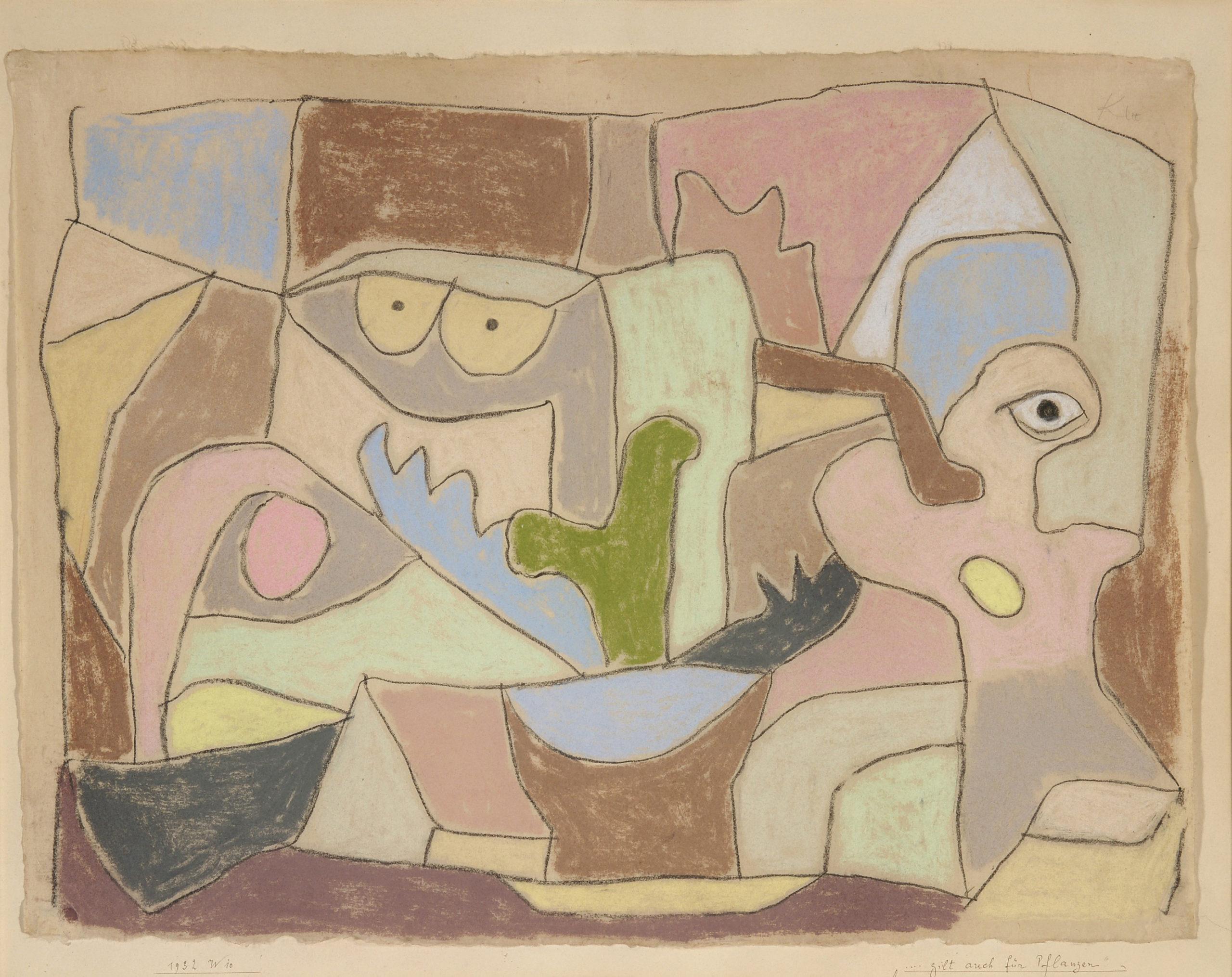 """Paul Klee, """"…gilt auch für Pflanzen"""", 1932, Pastell und Kreide auf Papier auf Karton, 38,1 x 49,5 cm / 43,3 x 54 cm"""