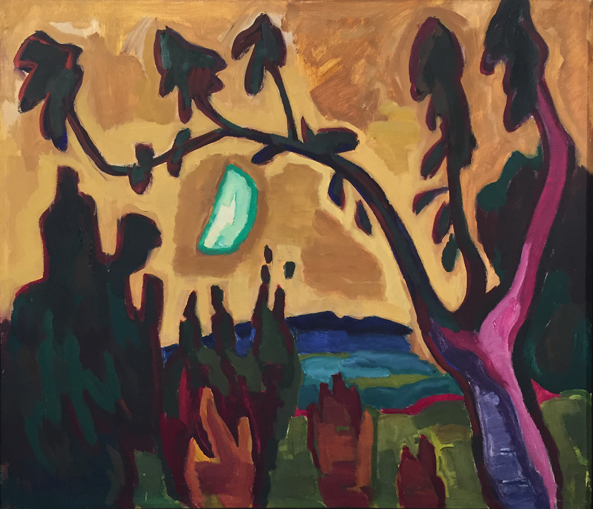 Mondsichel hinter Baum (Baum und Mond), 1956, Öl auf Leinwand, 88 x 101 cm