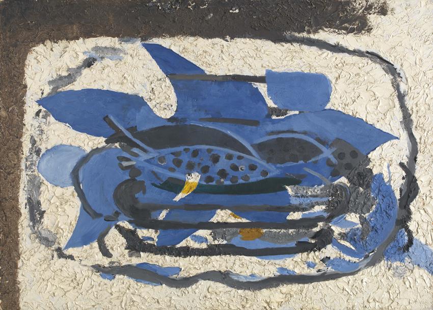 Georges Braque, L'aquarium bleu, 1960, Öl auf Karton auf Leinwand, 76,5 x 106,5 cm