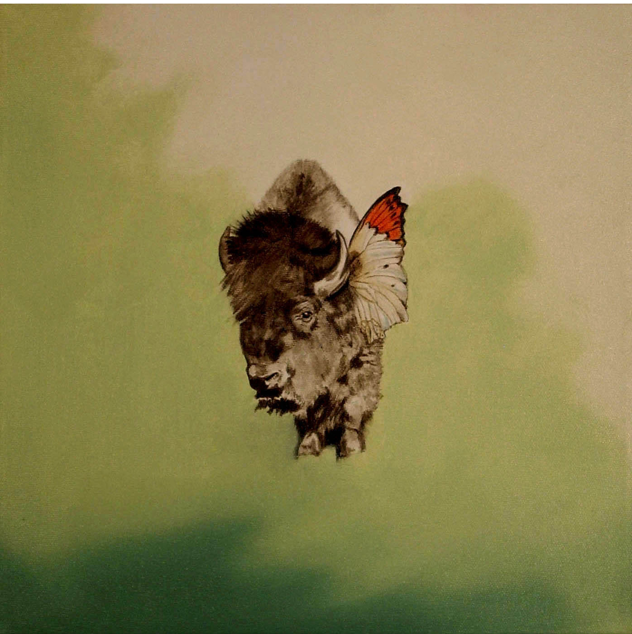 Marianna Gartner, Green Butterfly Bison, 2006, Öl auf Leinwand, 30 x 30 cm