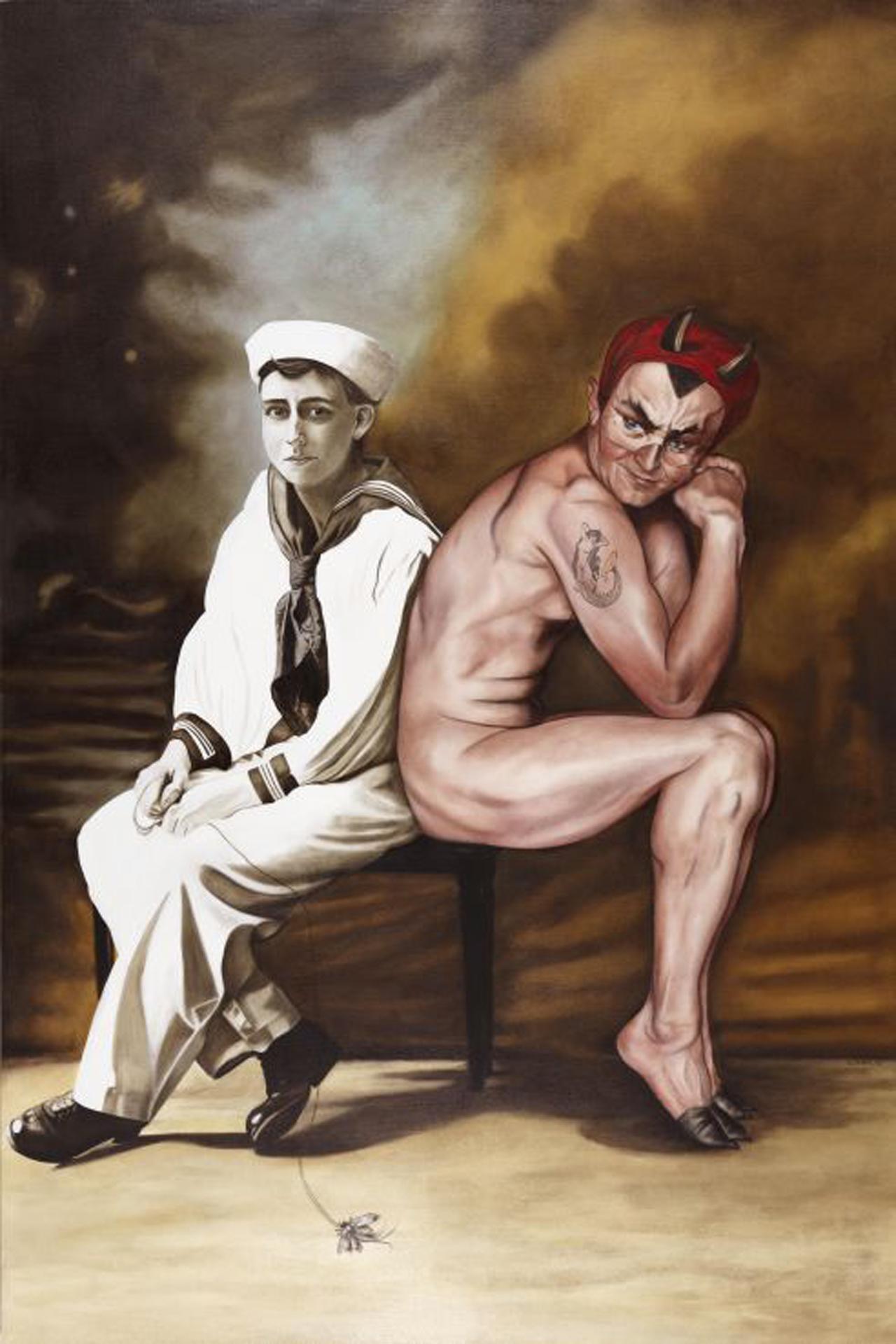 Marianna Gartner, Seated Sailor and Devil, 2008, Öl auf Leinwand, 183 x 122 cm
