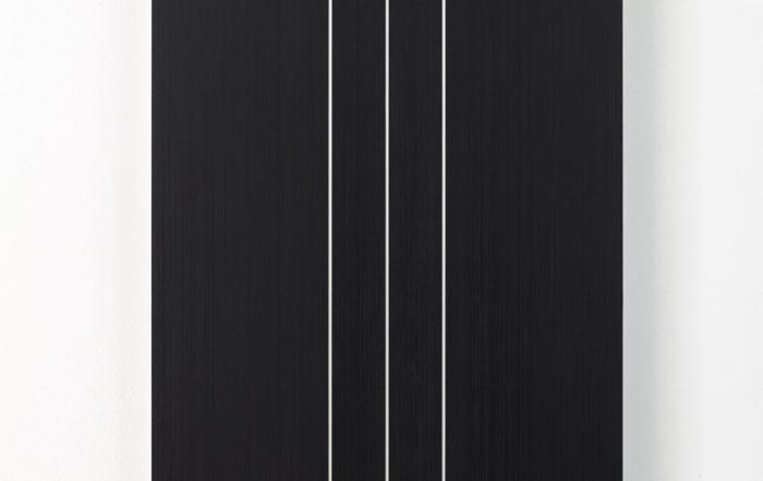 Frank Gerritz, Sonic Reducer II, 2016-2018, Ölwachsstift auf eloxiertem Aluminium, 120 x 60 cm