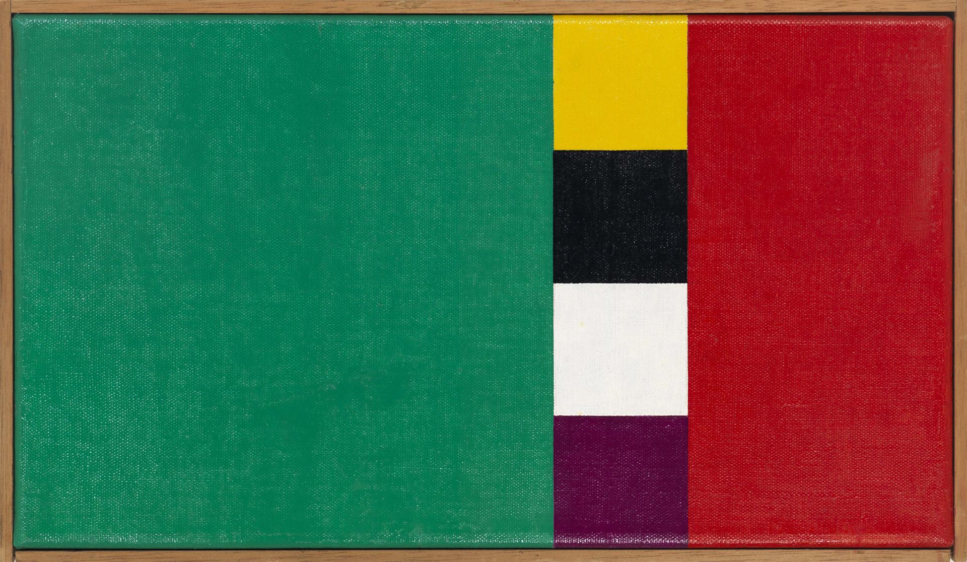 Camille Graeser, Konkretion mit drei Farbkomplementen I, 1954/1958, Öl auf Leinwand, 24 x 42,5 cm