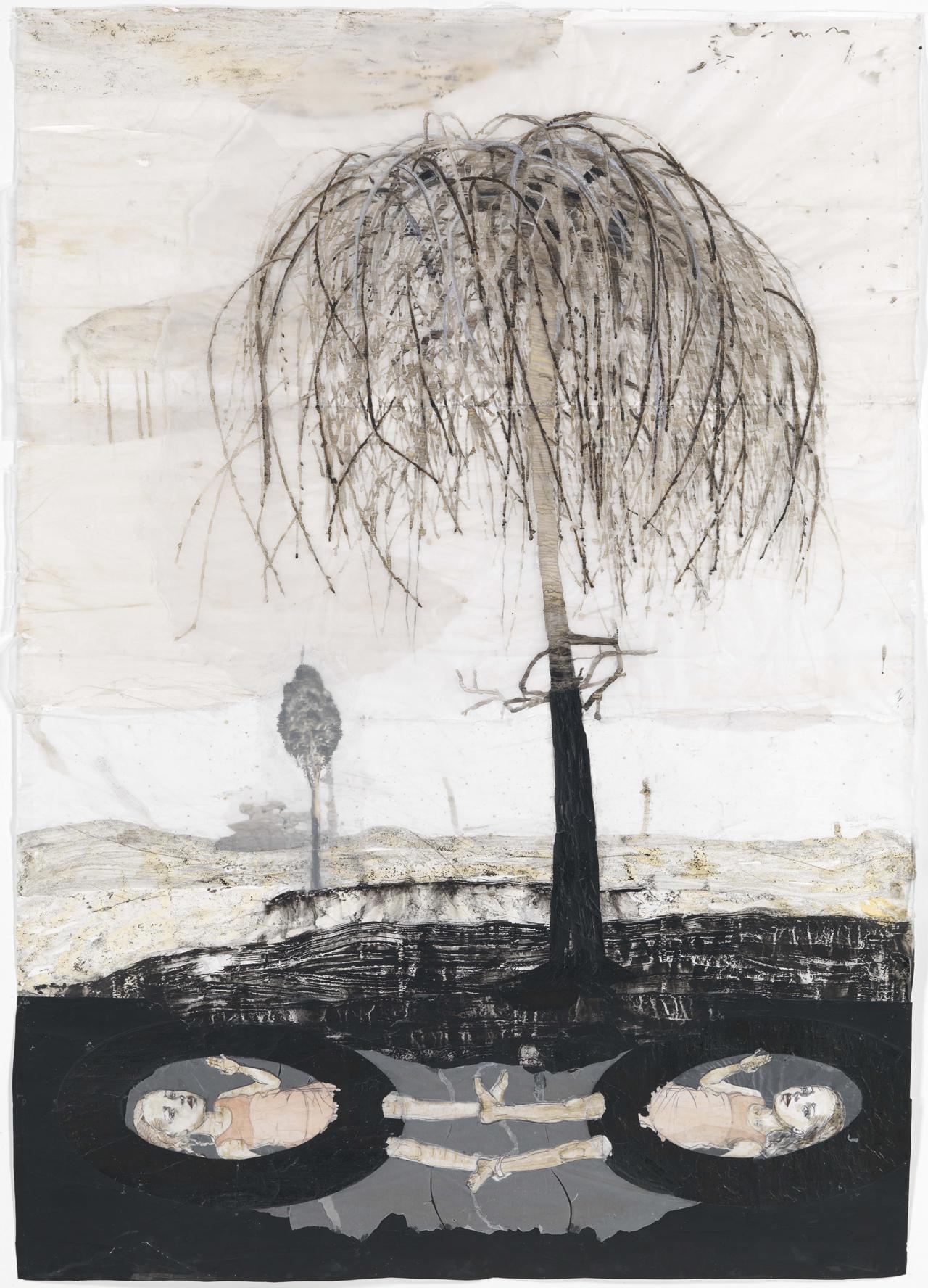 Kerstin Grimm, Da und dort, 2017/2018, Zeichnungscollage auf Papier, 210 x 152 cm