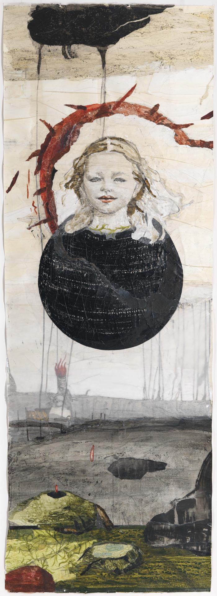 Kerstin Grimm, Landschaft, 2017/2018, Zeichnungscollage auf Papier, 220 x 77 cm