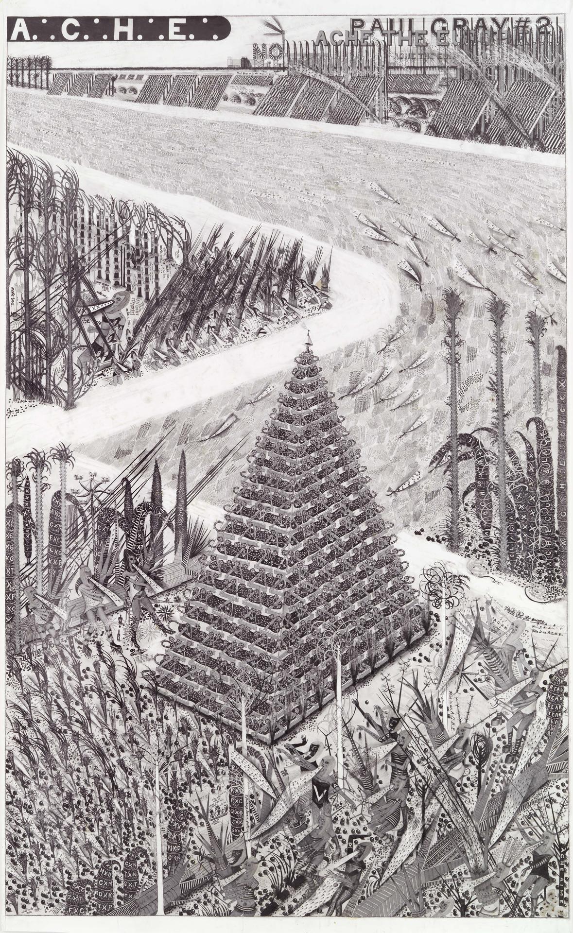 Hipkiss, A∴ C∴ H∴ E∴ 1, 2010, Bleistift und Silbertusche auf Papier, 187 x 113,2 cm