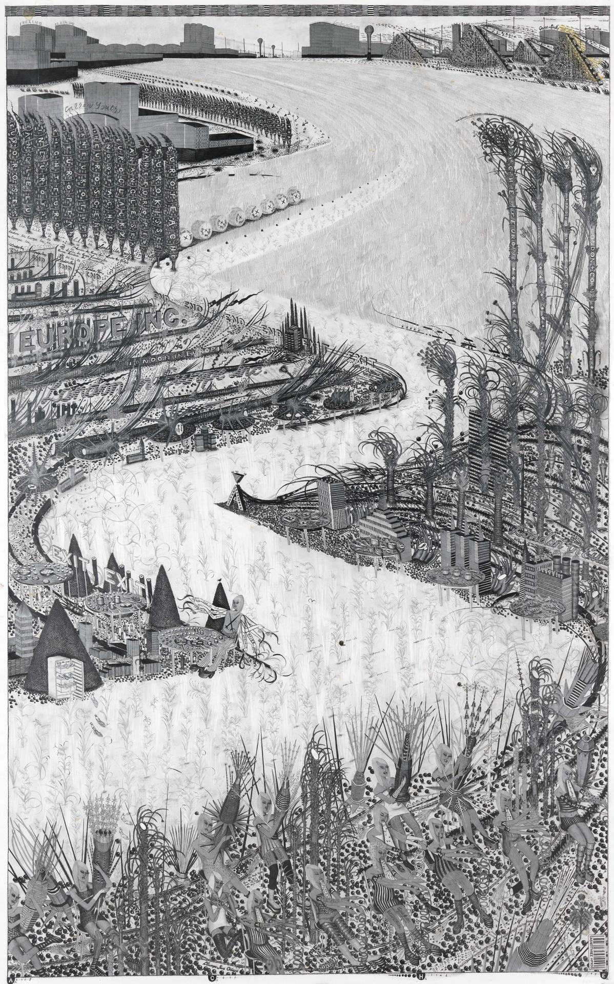 Hipkiss, A∴ C∴ H∴ E∴ 3, 2010, Mischtechnik auf Papier, 192 x 112 cm