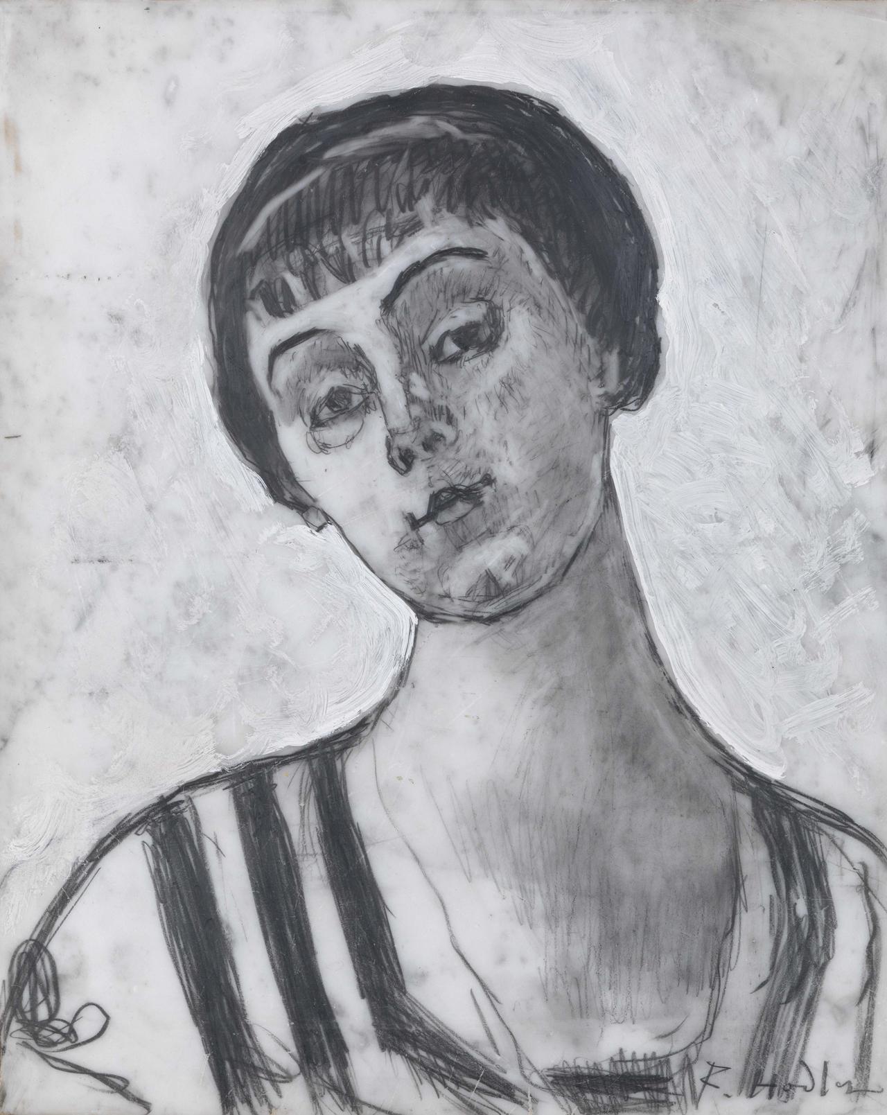Ferdinand Hodler, Bildnis der Jeanne Amélie Günzburger-Malan, 1912, Graft und ölhaltige Farbe auf Marmor, 36,5 x 29,5 cm