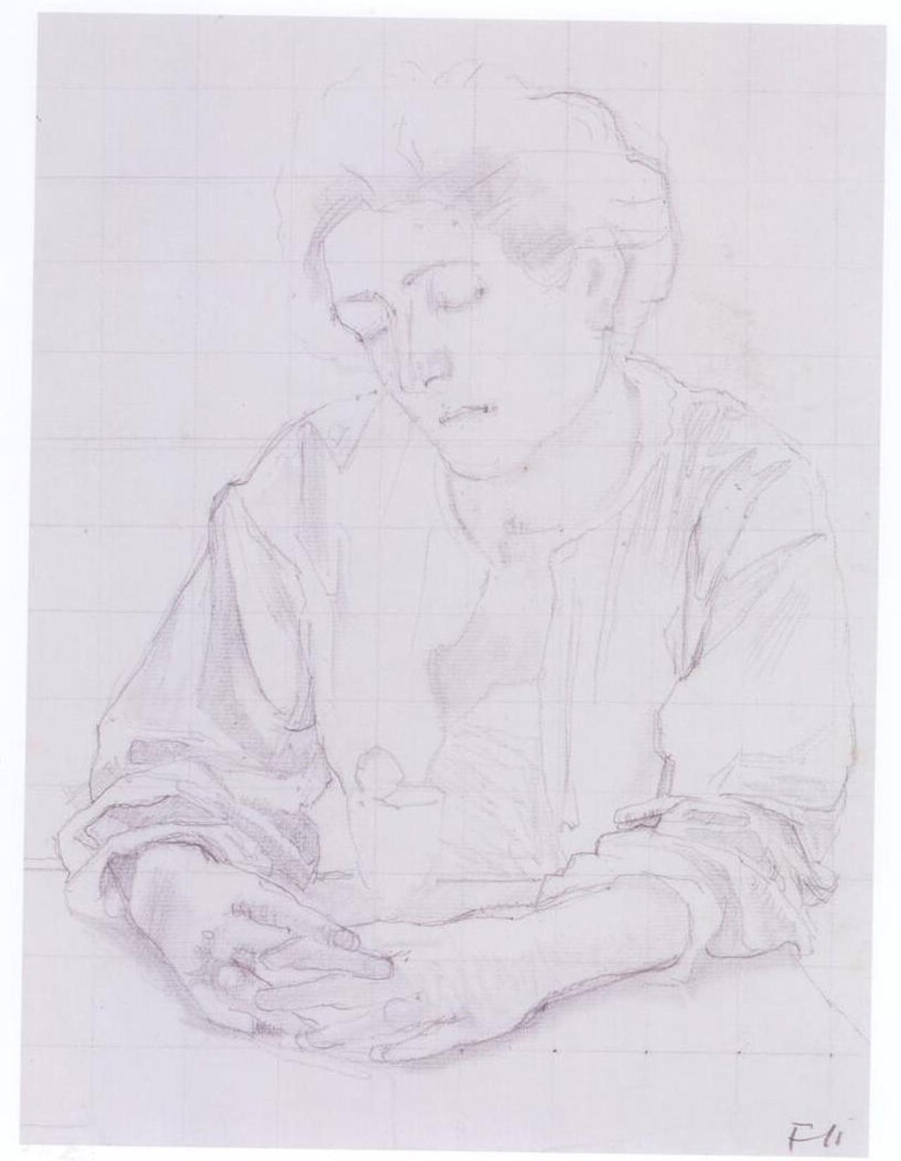 """Ferdinand Hodler, Studie zu """"Frau mit Nelke"""", um 1891/1892, Bleistift auf Papier, 37 x 28 cm"""
