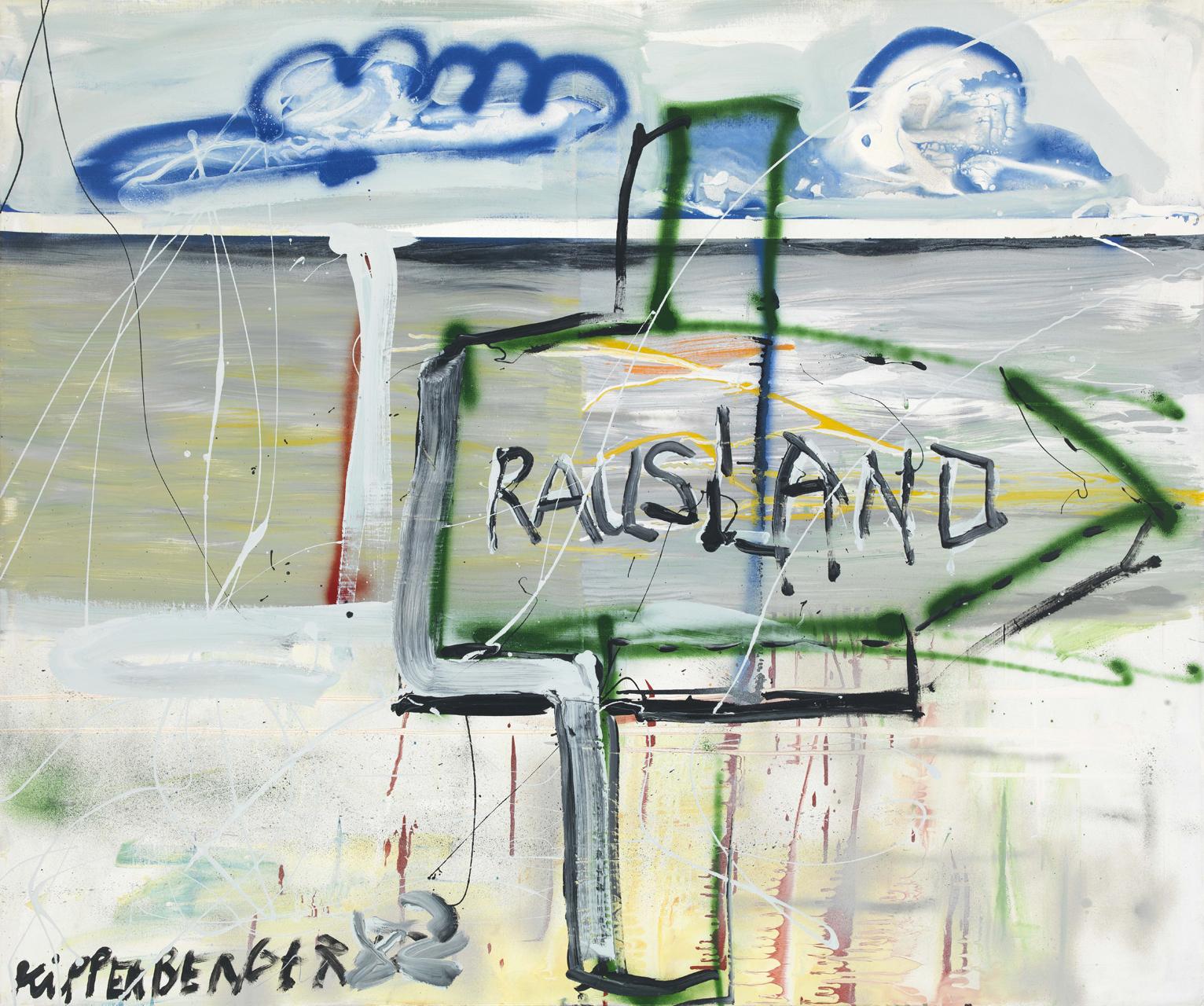Martin Kippenberger, Rausland, 1982, Öl und Sprayfarbe auf Leinwand, 100 x 120 cm