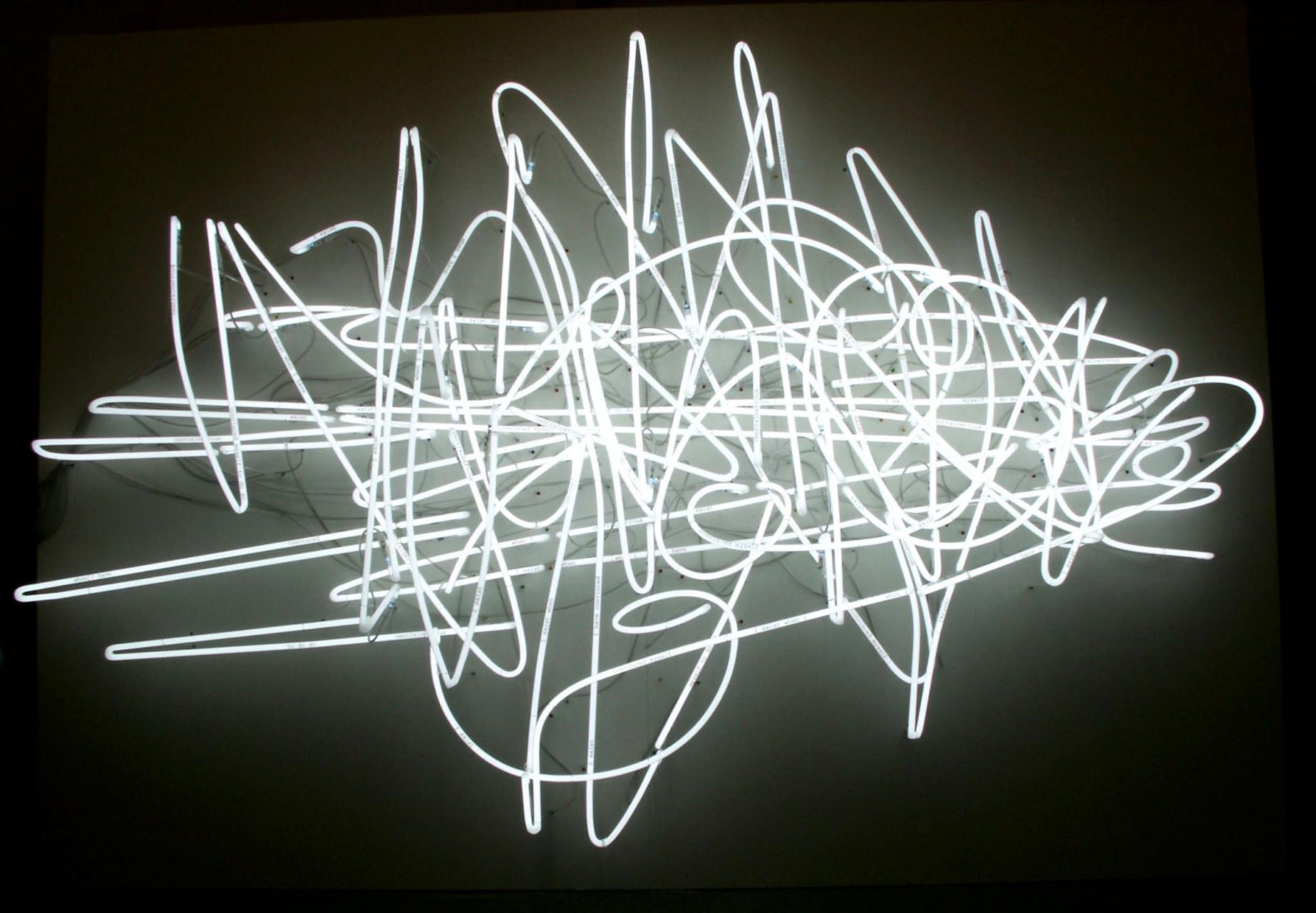 Astrid Klein, Ohne Titel (centralnervous), 1999/2007, Neon/Glasröhren, weiß, 220 x 330 x 55 cm