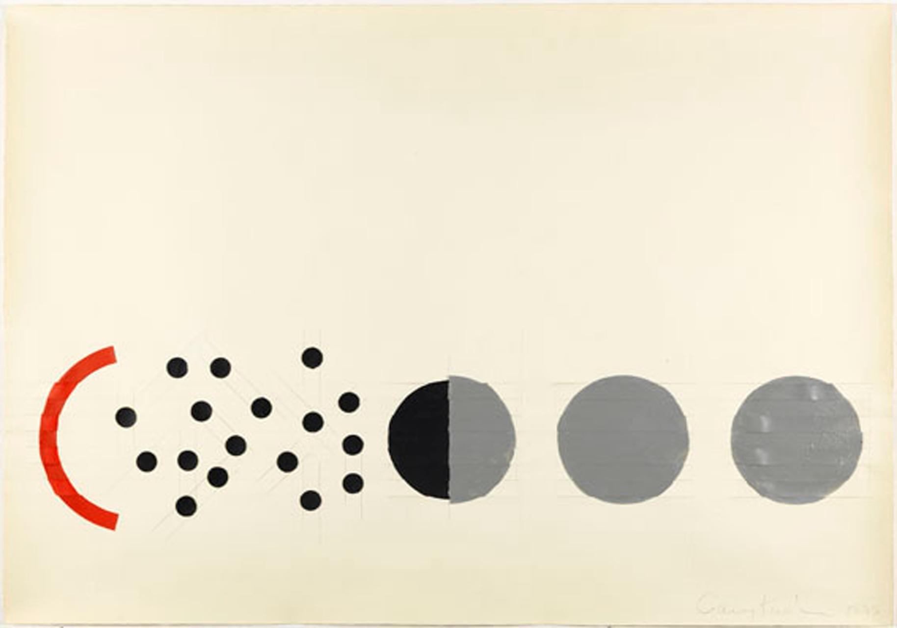 Gary Kuehn, Berliner Serie, 1979, Gouache, Collage und Graft auf Papier, 76 x 107 cm