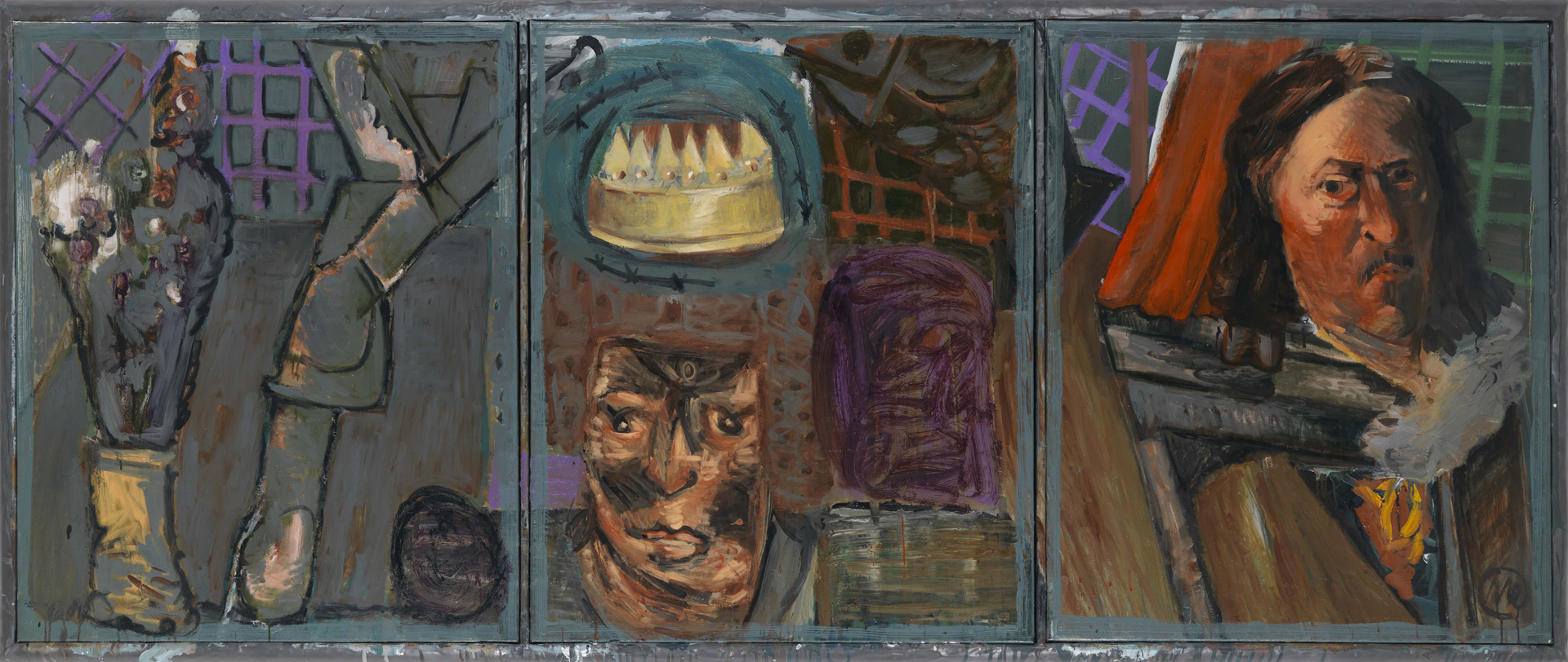 Markus Lüpertz, Triptychon: König, William Shakespeare, 1988, Öl auf Leinwand, 100 x 247 cm