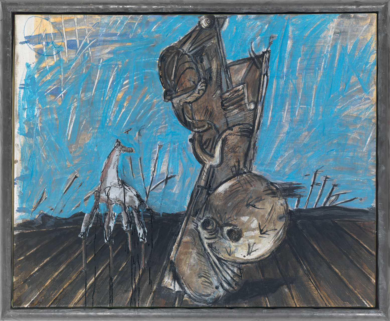 Markus Lüpertz, Weißes Pferd, 1989/1990, Öl auf Leinwand, 81 x 100 cm