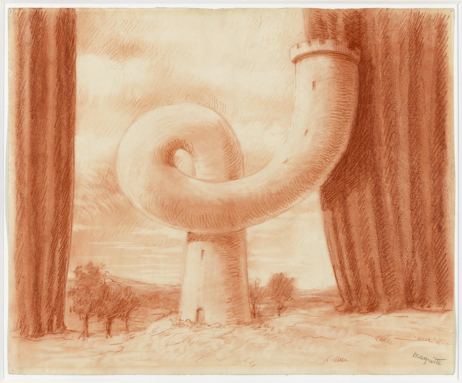 René Magritte, The Tower, 1954, Rötel auf Papier, 36,7 x 44,5 cm