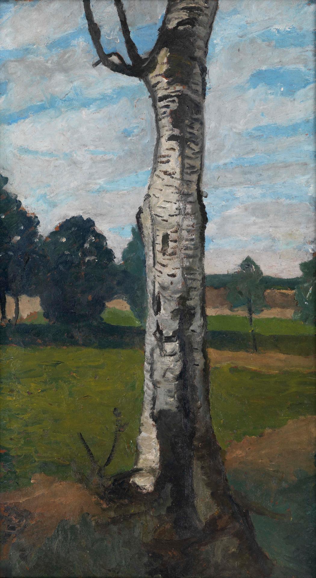 Paula Modersohn-Becker, Landschaft mit Birkenstamm, um 1901, Öl auf Karton, 68,3 x 38,2 cm