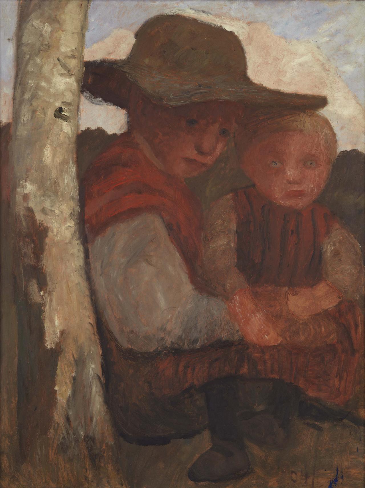 Paula Modersohn-Becker, Sitzendes Mädchen mit Strohhut und Kind auf dem Schoß, 1904, Tempera auf Karton, 74 x 58 cm