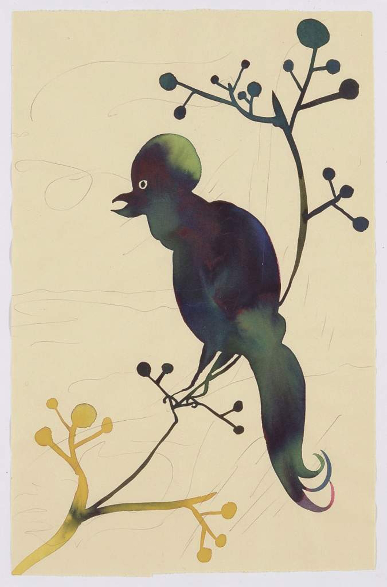 Chris Ofili, Ohne Titel, 2004, Aquarell und Bleistift auf Papier, 32,5 x 21 cm