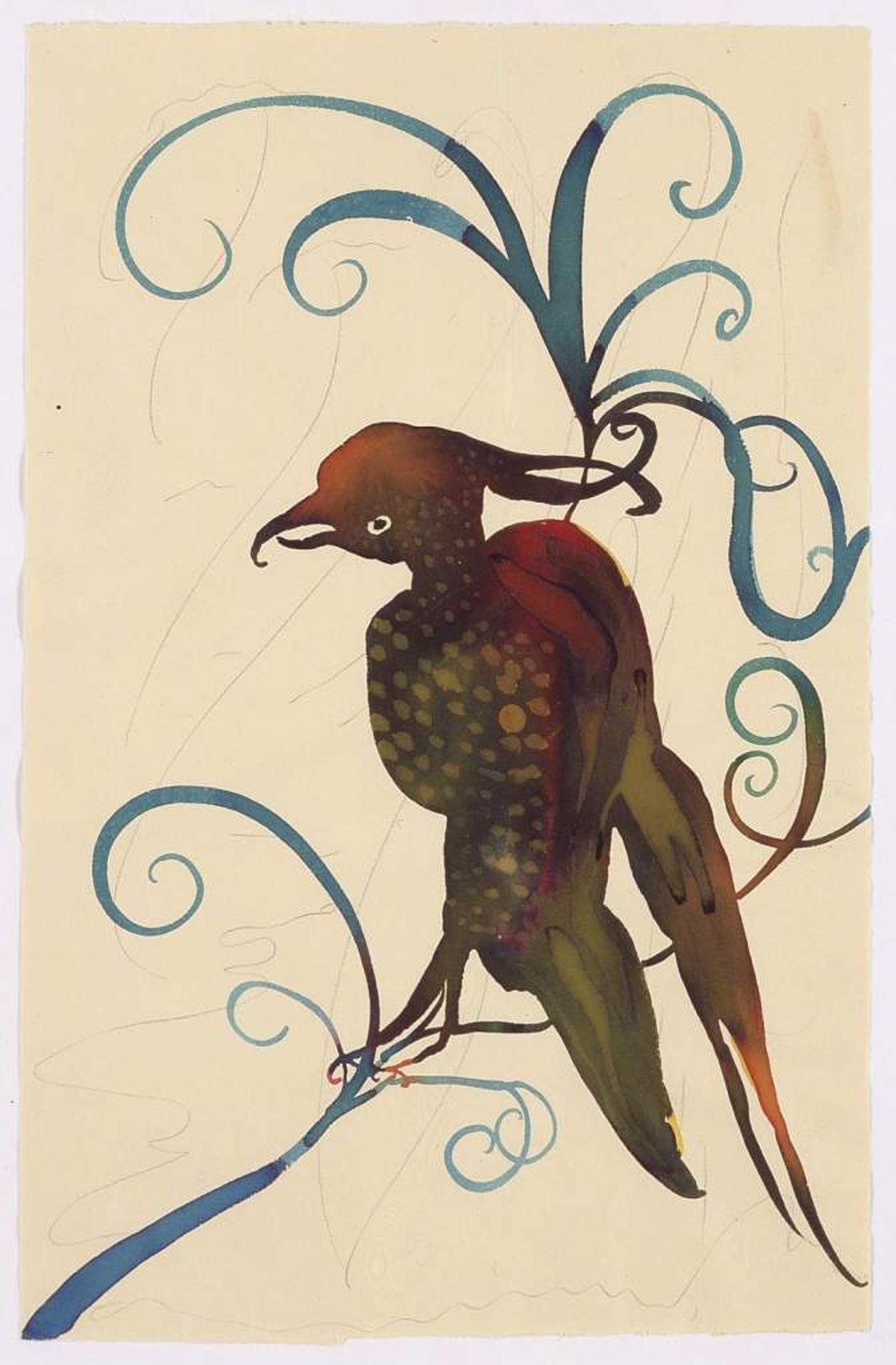 Chris Ofili, Ohne Titel (Bird red and yellow), 2004, Aquarell und Bleistift auf Papier, 32,5 x 21 cm