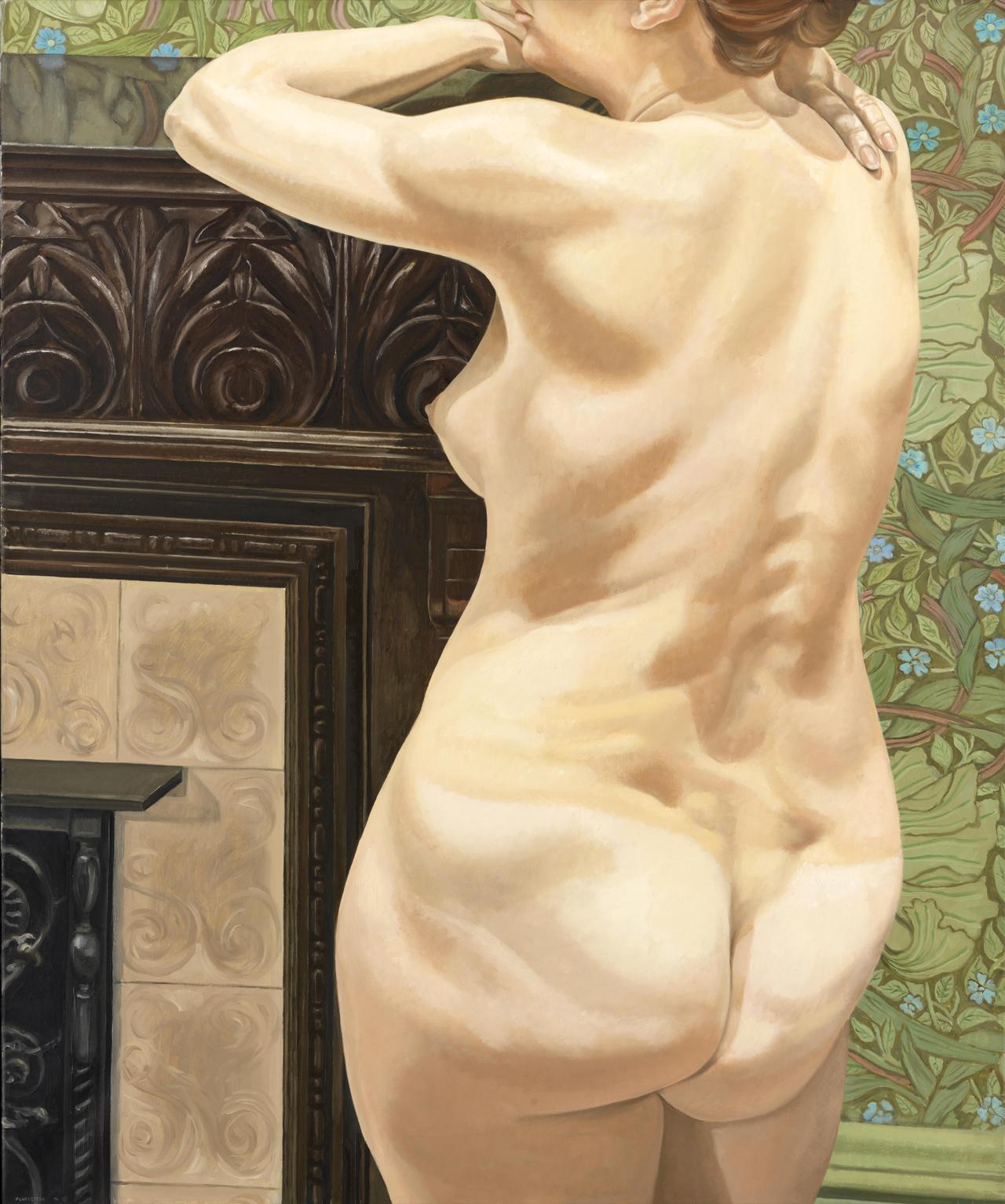Philip Pearlstein, Female Model Leaning on Mantel, 1974, Öl auf Leinwand, 121,9 x 101,6 cm