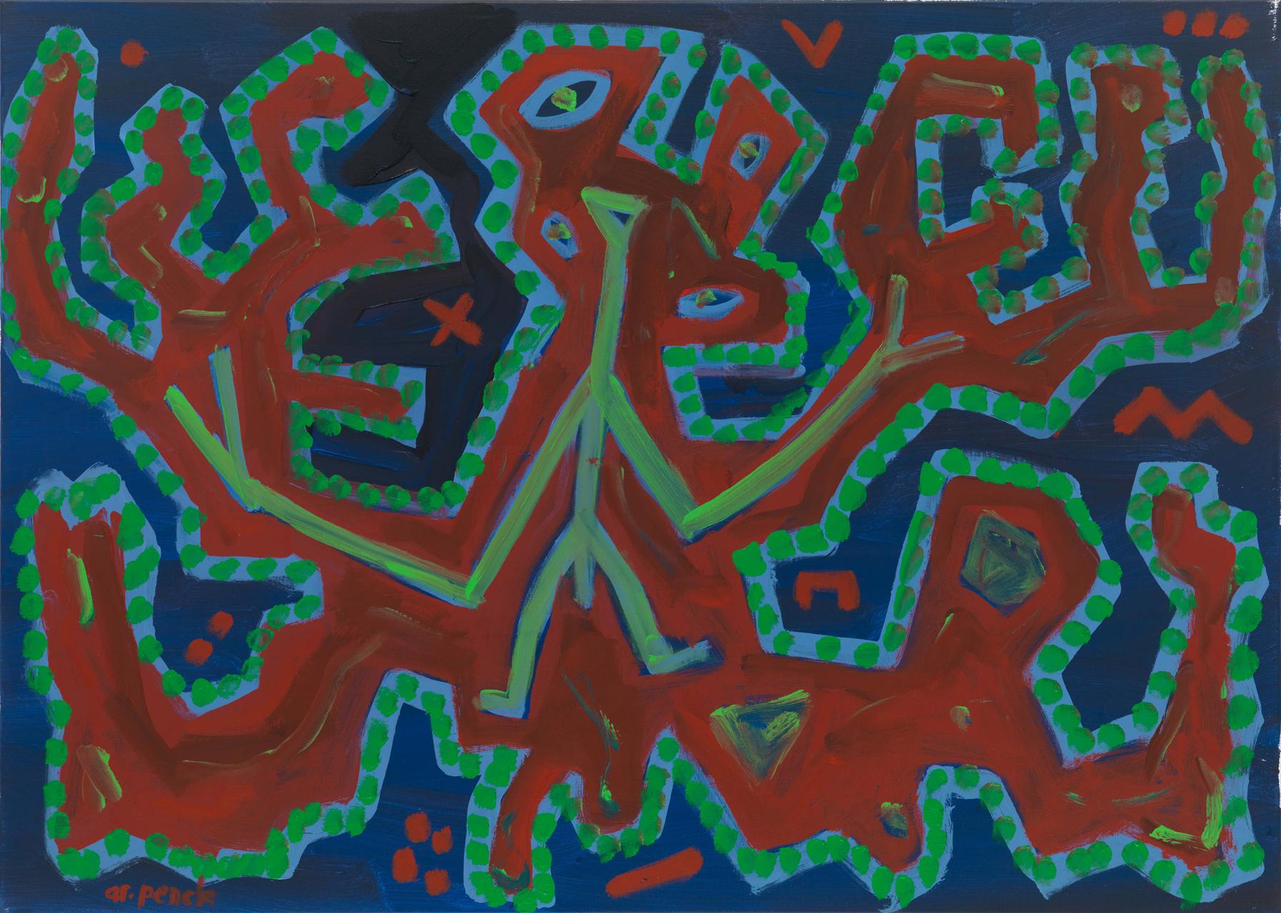 A.R. Penck, Ohne Titel, ca. 1995, Acryl auf Leinwand, 105 x 145 cm