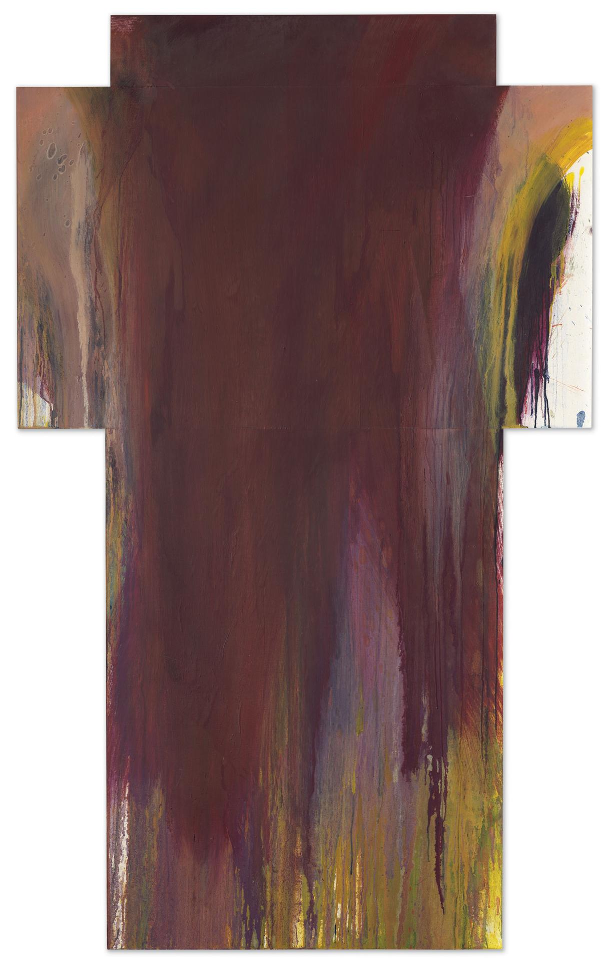 Arnulf Rainer, Weinkreuz, 1990/1991, Öl auf Karton auf Holz, 198,5 x 121 cm