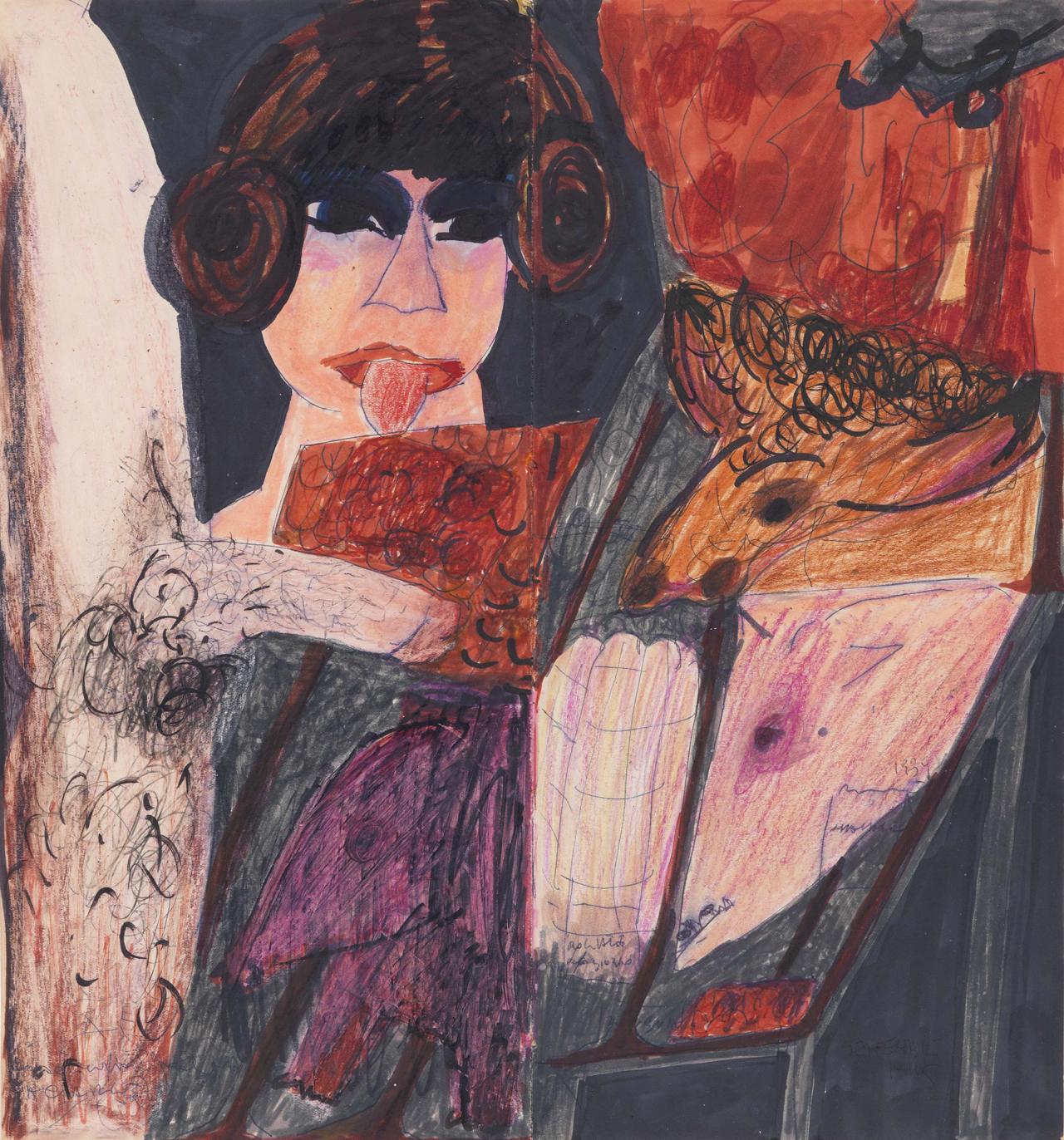 Carol Rama, Ohne Titel, 1959, Mischtechnik auf Papier, 34 x 32 cm