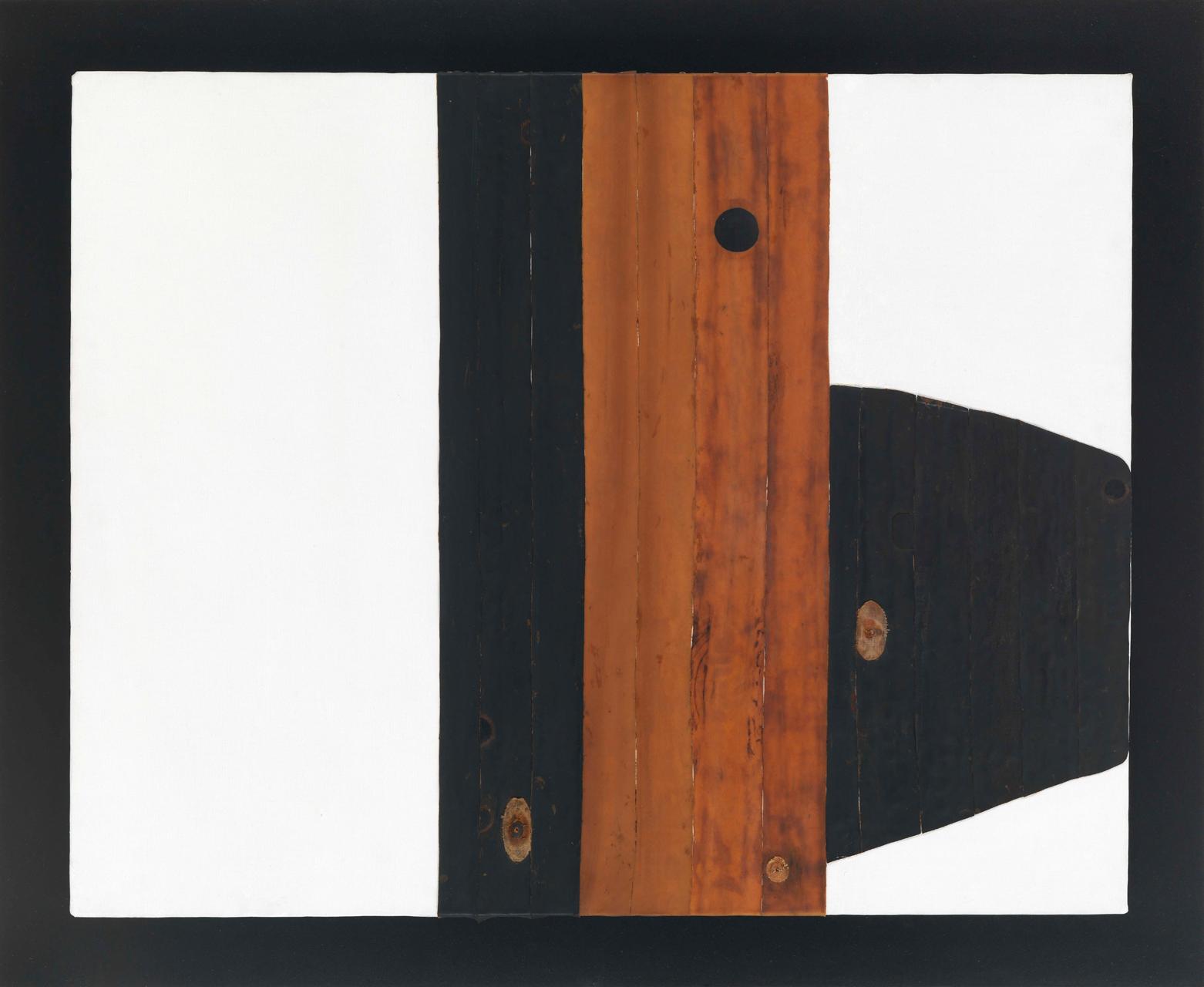 Carol Rama, Spazio anche più che tempo, 1970, Collage mit Reifen auf Leinwand, 80 x 100 cm