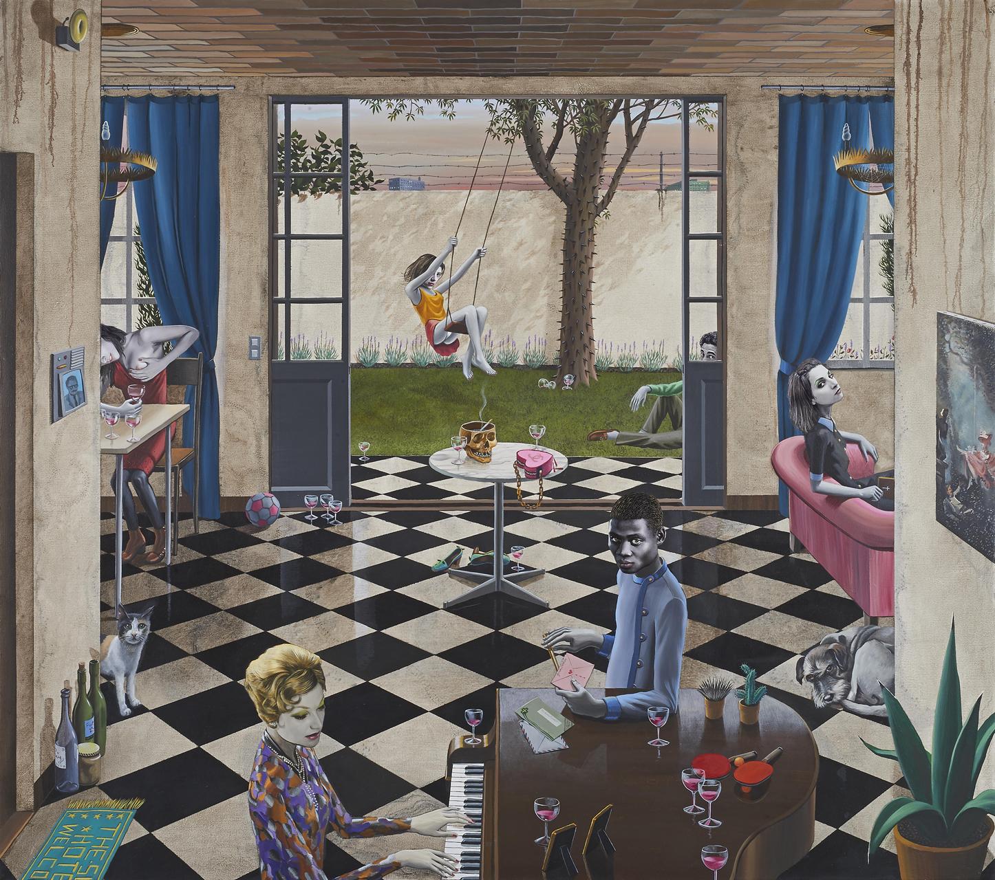 Gino Rubert, The Swing, 2016, Mischtechnik auf Leinwand, 130 x 146 cm