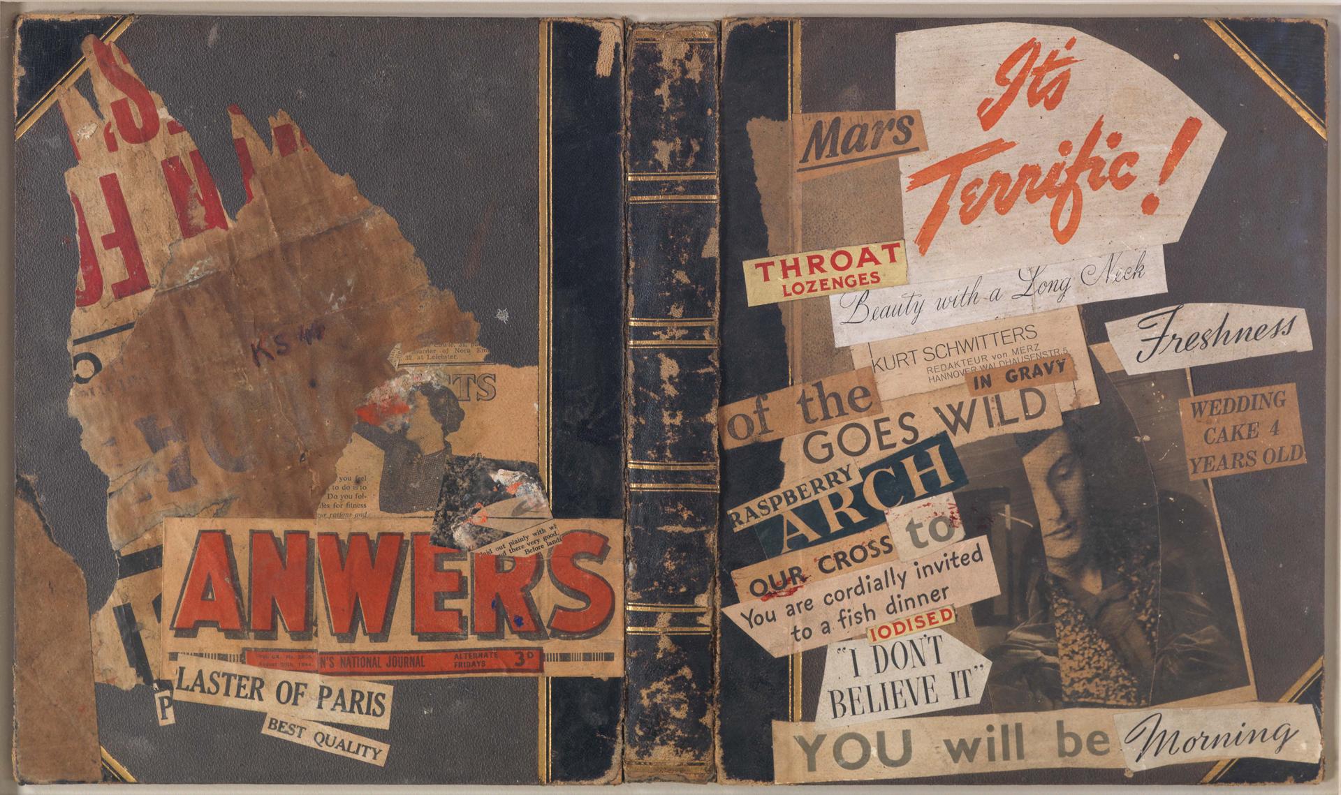 Kurt Schwitters, ohne Titel (Its terrifc!), 1944, Merzzeichnung, Collage auf ledergebundenem Buchdeckel, 31,5 x 53,5 cm