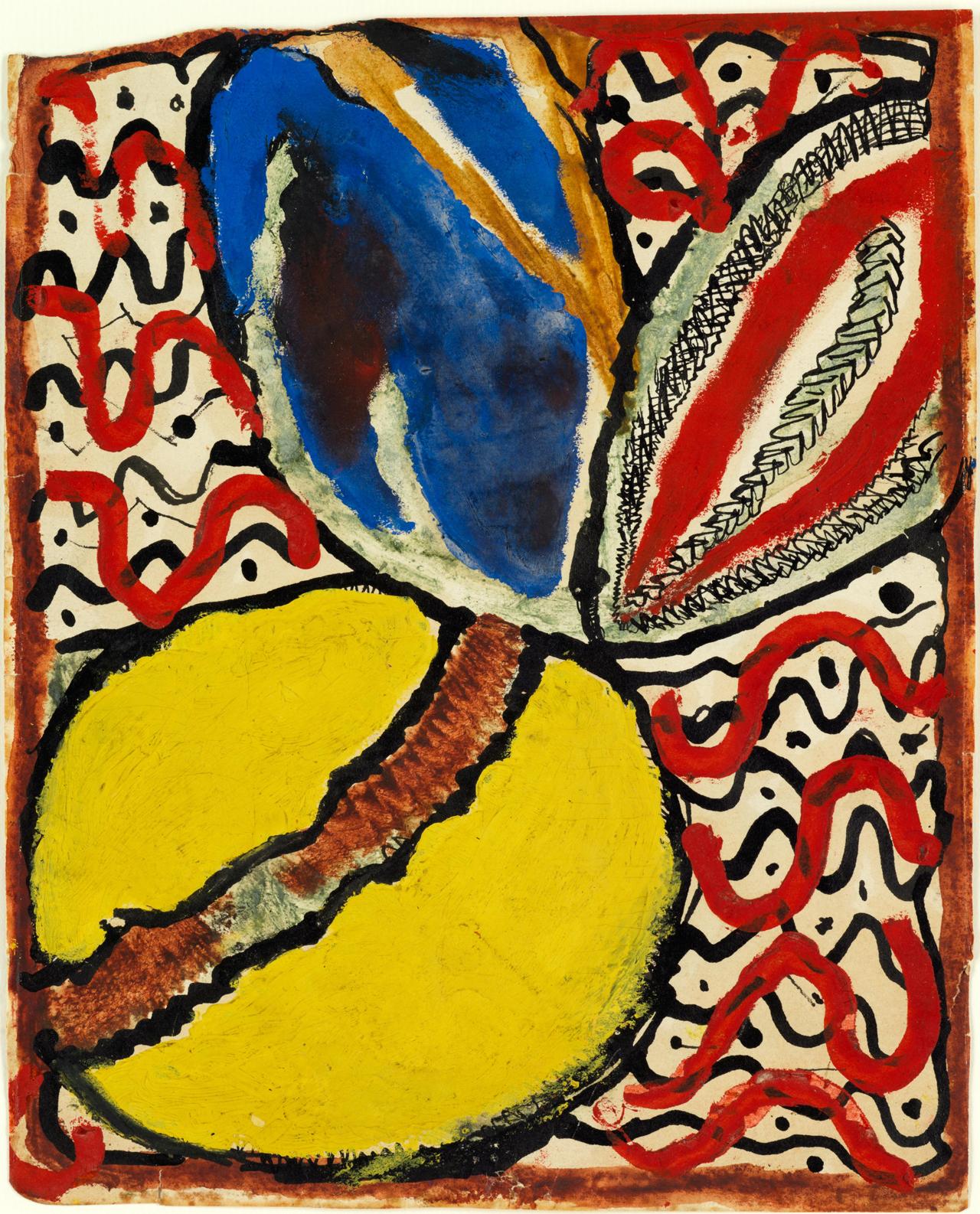 Louis Soutter, Citron, feuille et motifs décoratifs, n.d. Gouache, Aquarell und Tusche auf Papier, 25,5 x 20,5 cm