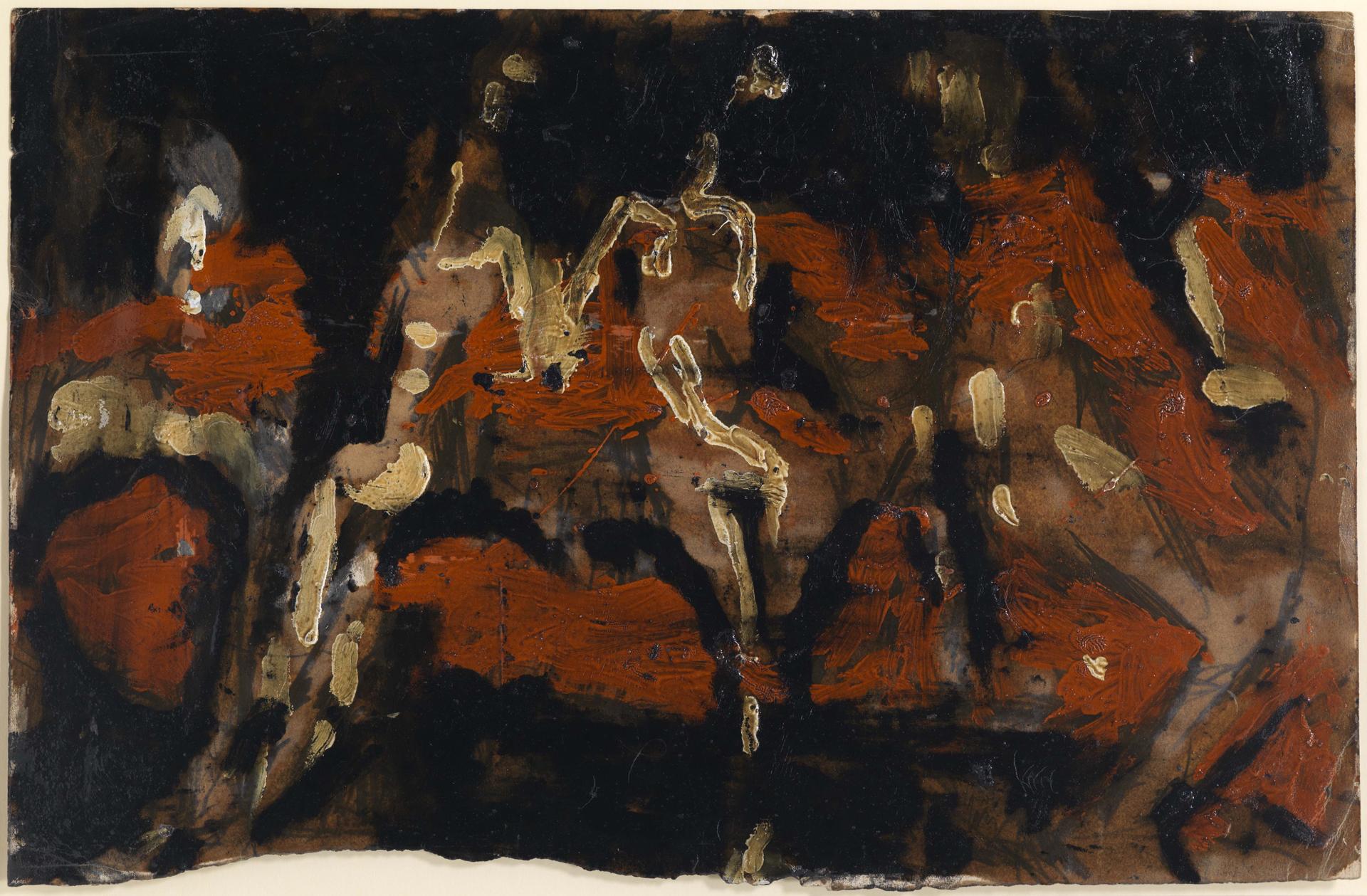 Louis Soutter, Ohne Titel (danse, cinq personnages?), verso: skizzenhafte Darstellung einer Person, um 1936/1937, Öl auf Karton, 32,3 x 49,8 cm