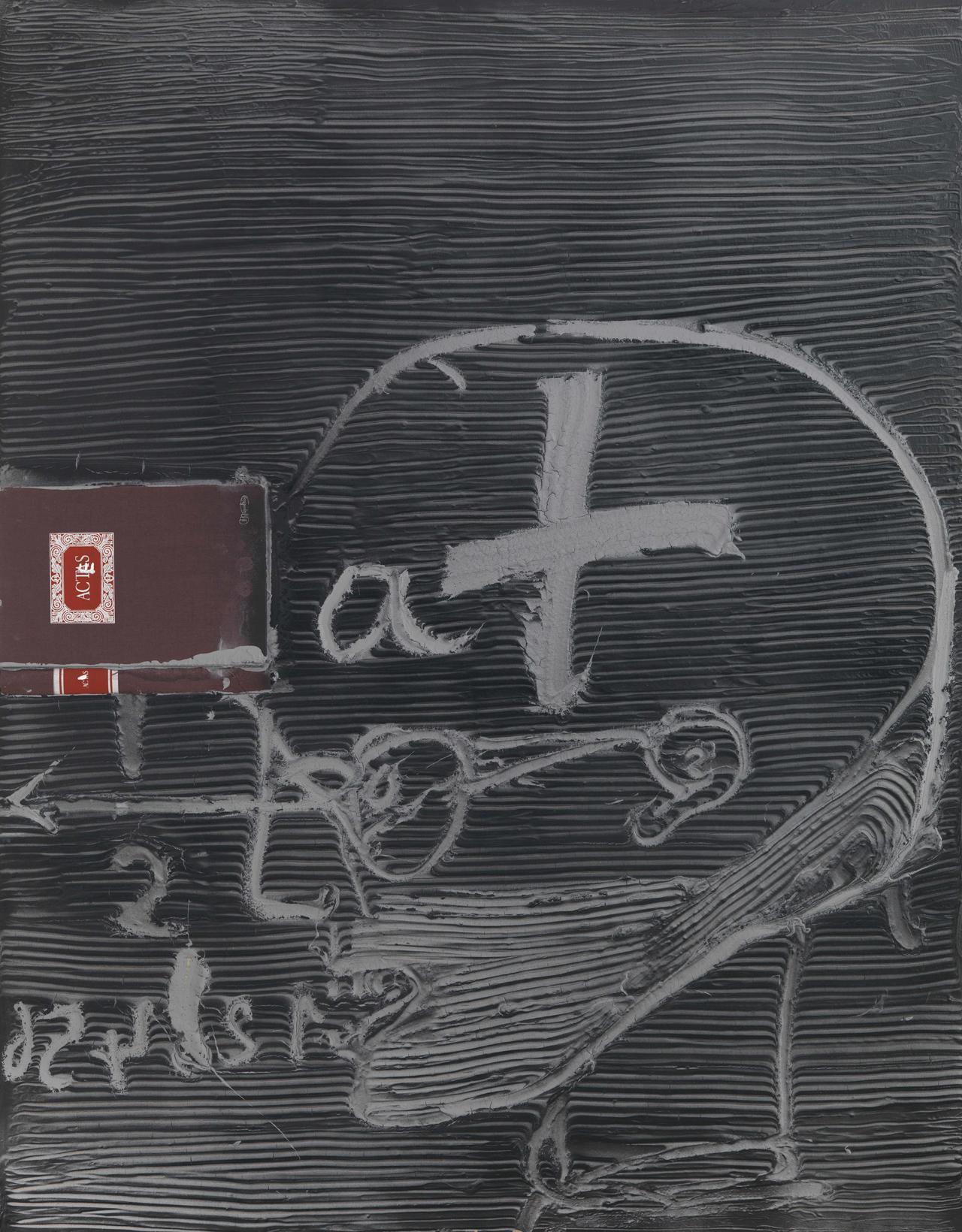 Antoni Tàpies, Actes, 2003, Mischtechnik und Collage auf Holz, 146 x 114 cm