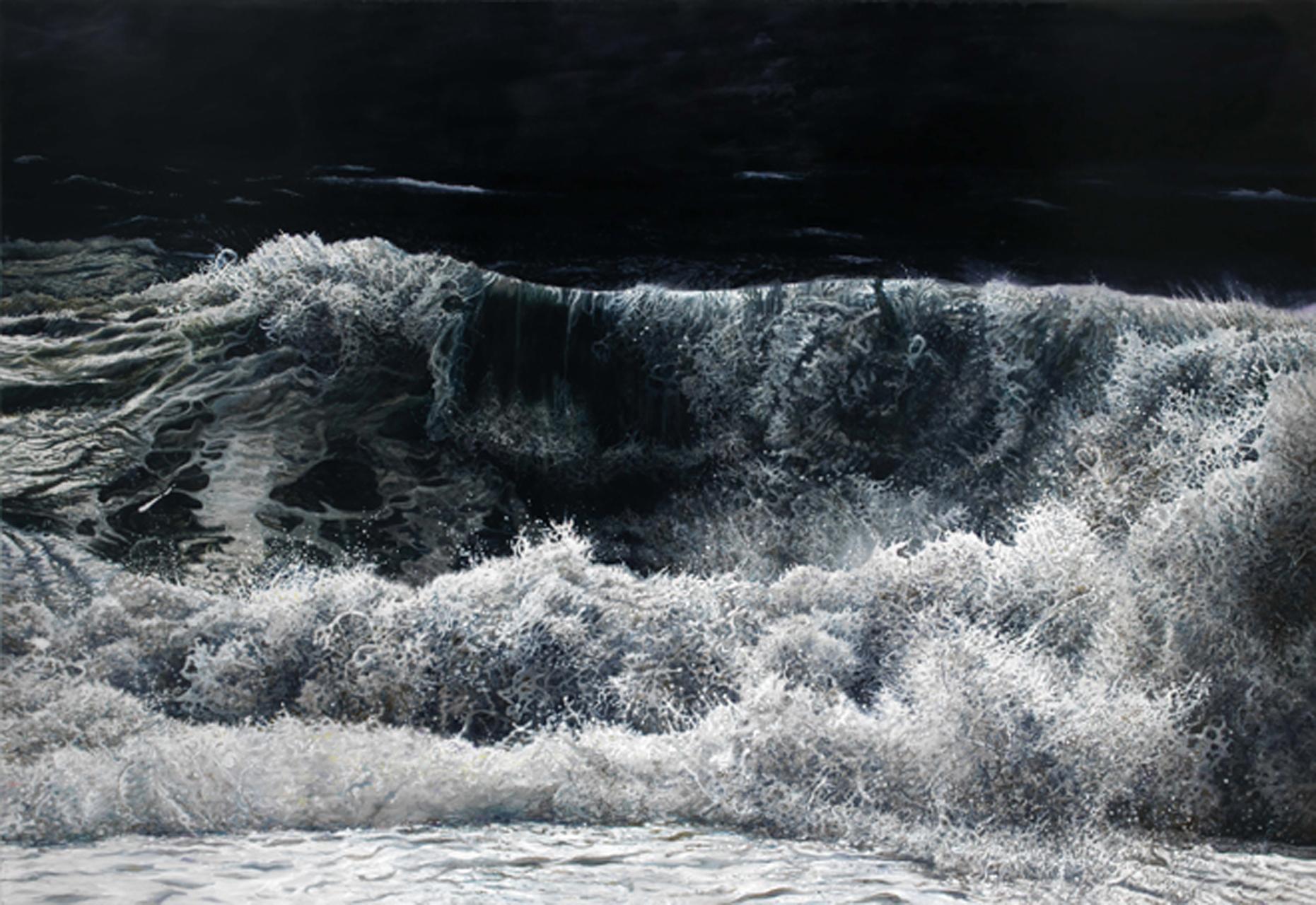 Dimitris Tzamouranis, 36°45´N-021°56´E (Die Welle), 2015, Öl auf Leinwand, 235 x 340 cm