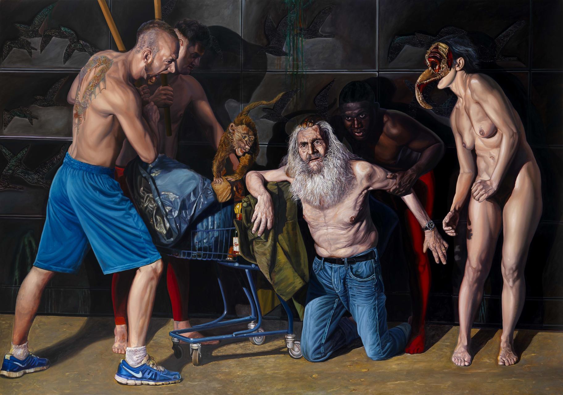 Dimitria Tzamouranis, Die Versuchung des heiligen Antonius II, 2013, Öl auf Leinwand, 230 x 340 cm